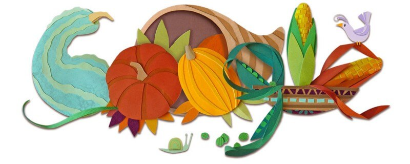 Squash clipart thanksgiving. Google doodle features three