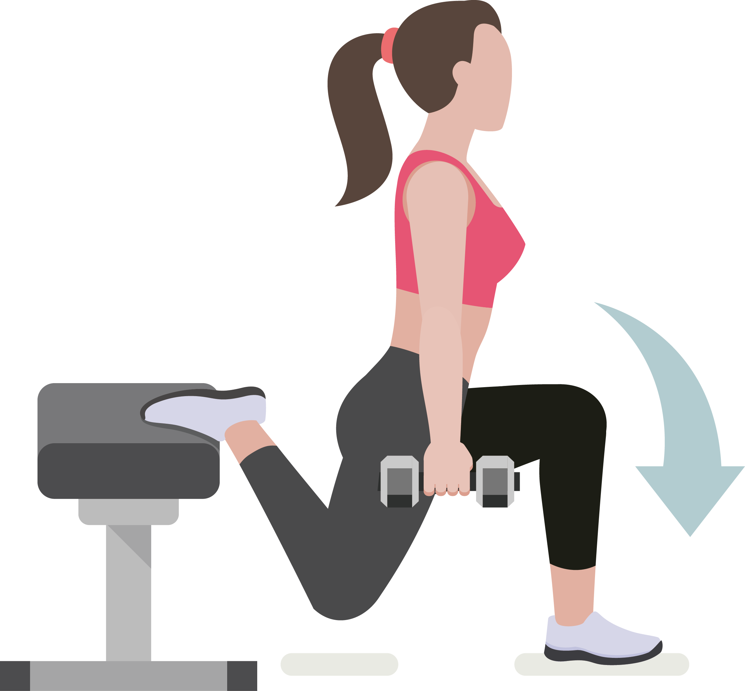 Squat vector cartoon. Dumbbell physical exercise fitness