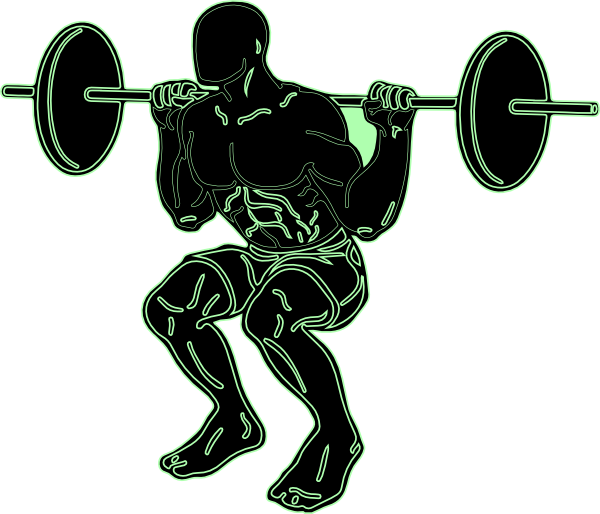 Squat vector female weightlifter. Strength black and
