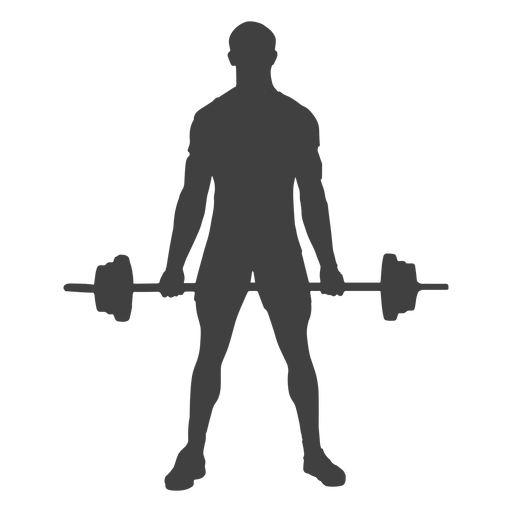 Squat vector holding. Man barbell silhouette transparent