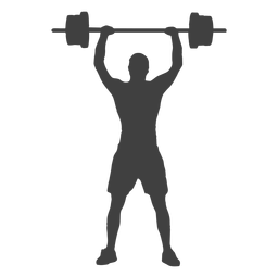 Squat vector barbell. Man silhouette transparent png