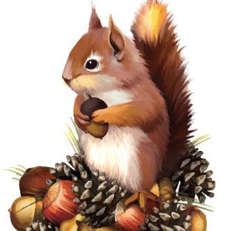 Squirrel clipart thanksgiving. Die cut decoration and