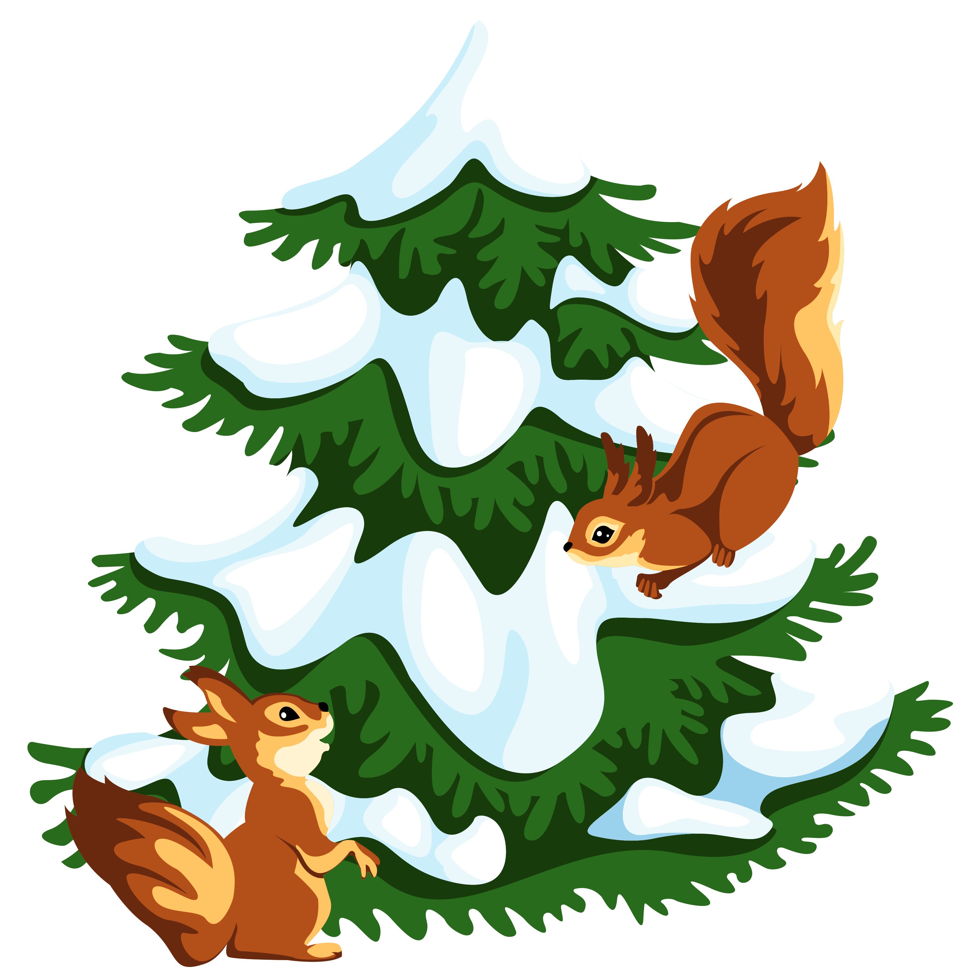 Squirrel clipart winter. Transparent snowy tree with
