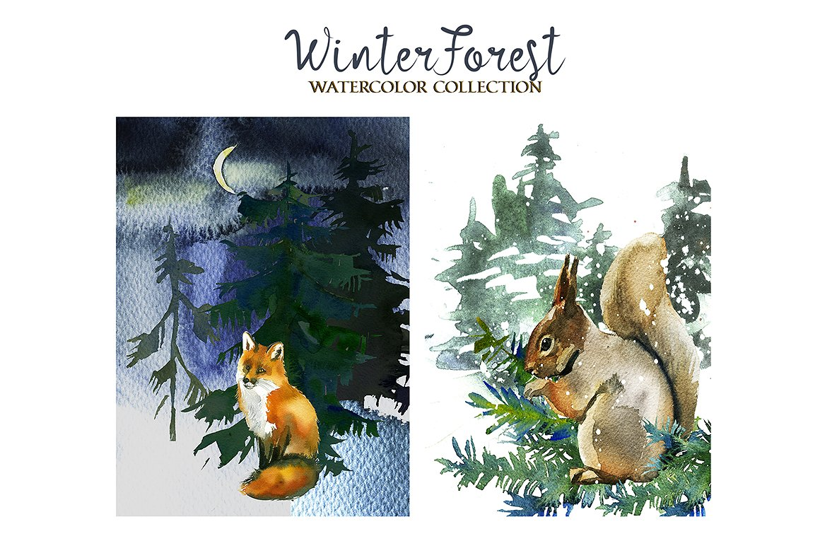 Squirrel clipart winter. Forest watercolor pine trees