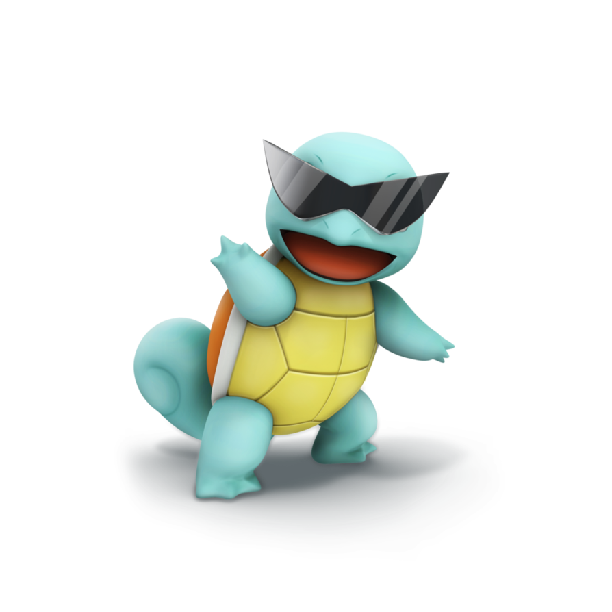 Squirtle glasses png. Smash bros trophy render
