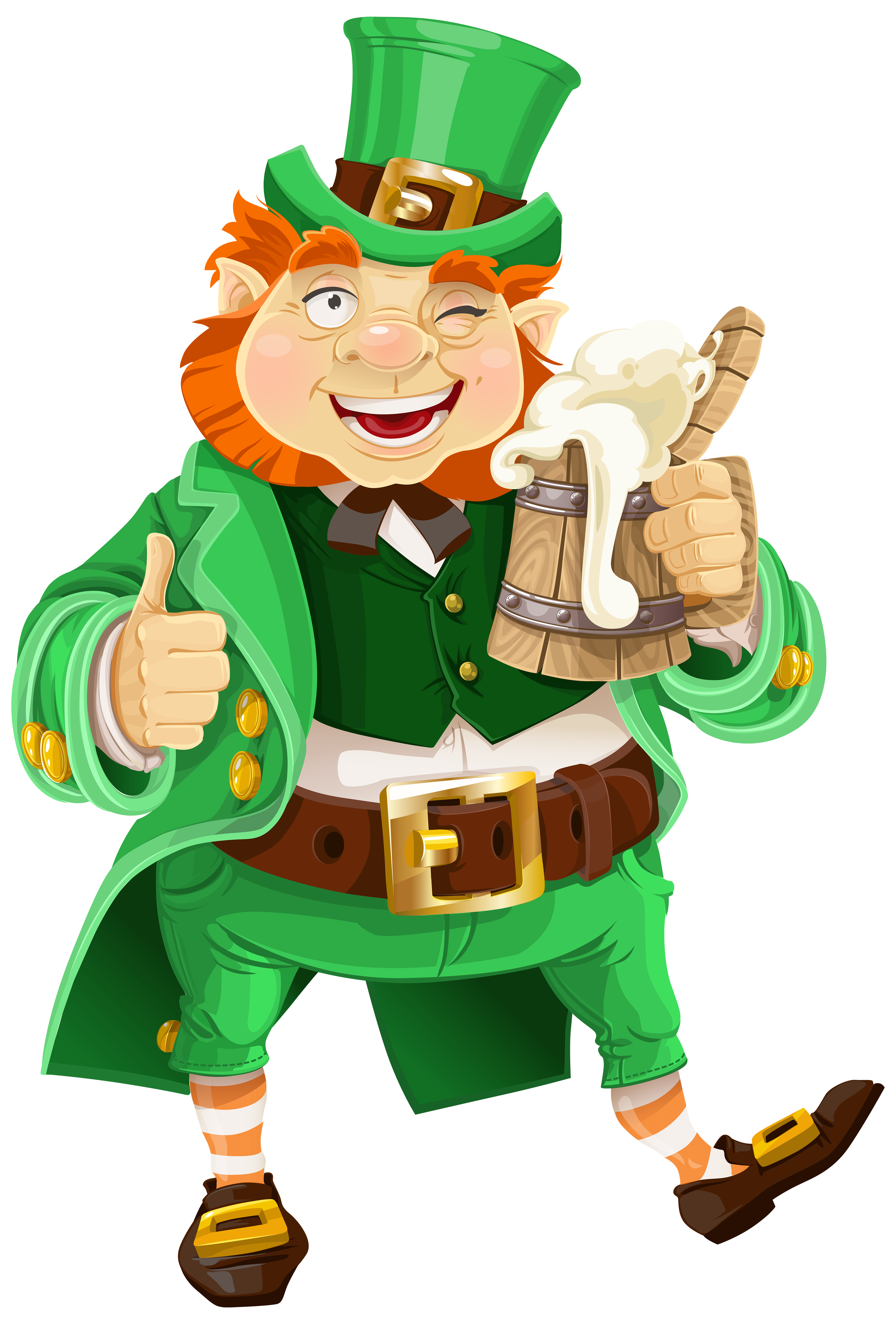 St patrick leprechaun png. Patricks day with beer