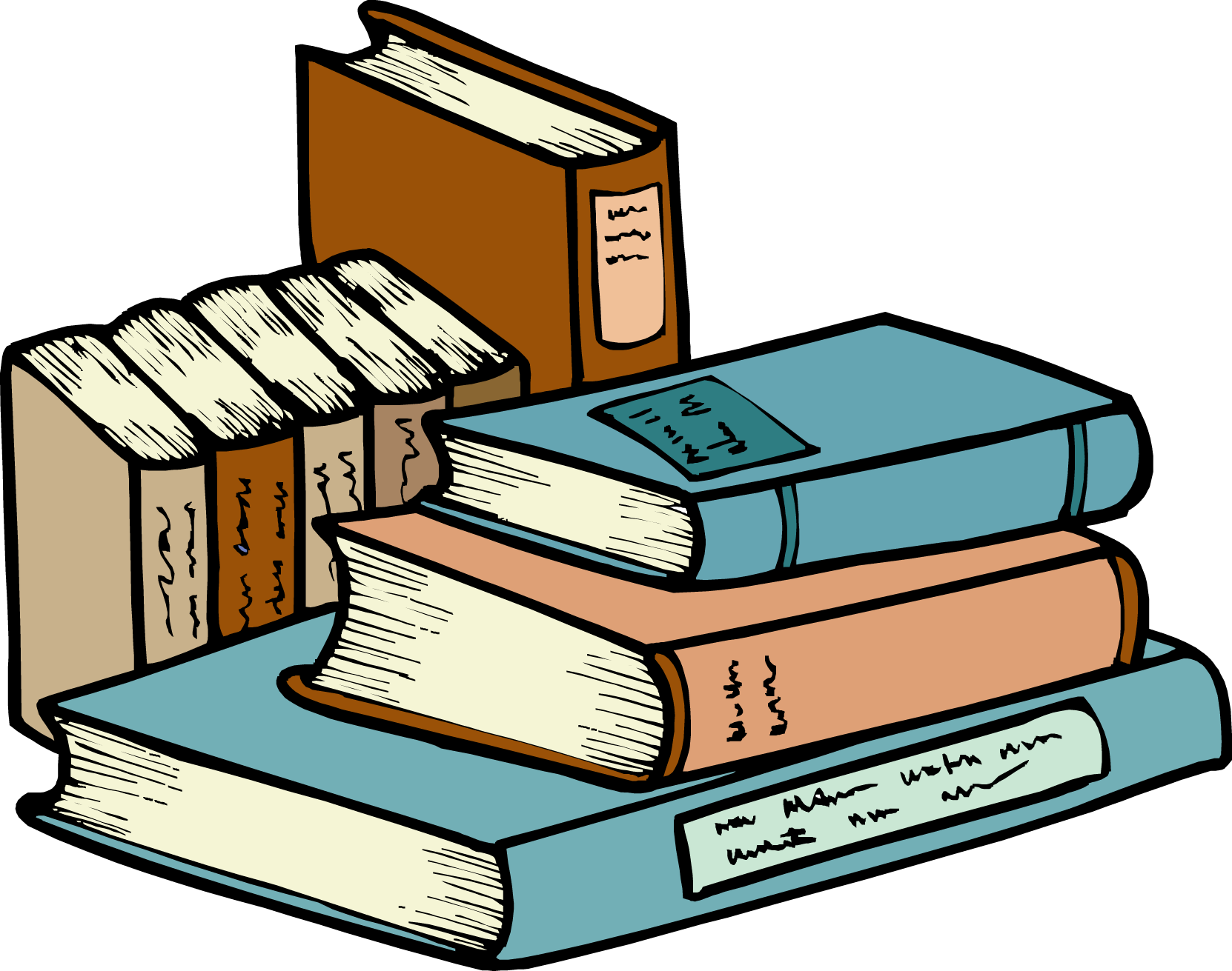 Stack clipart pile book. Of books panda free