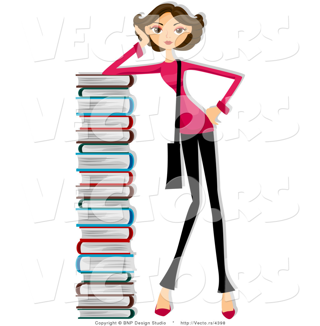 Stack clipart school project. Tall of books panda