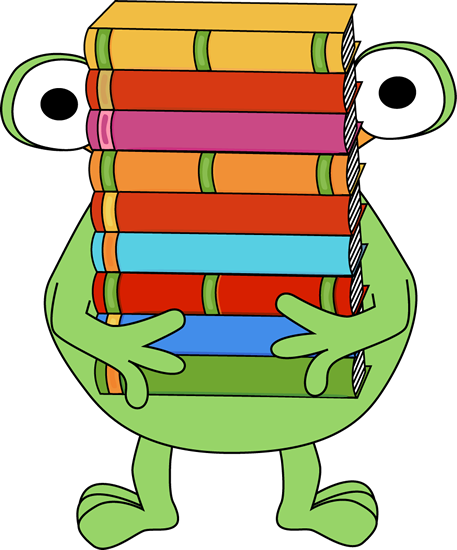 Stack of books clipart png. Monster carrying a monsters