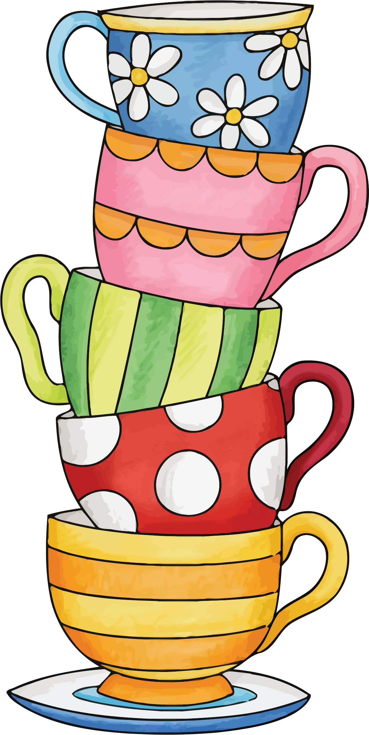Stacked tea cups png. Clipart stack of big
