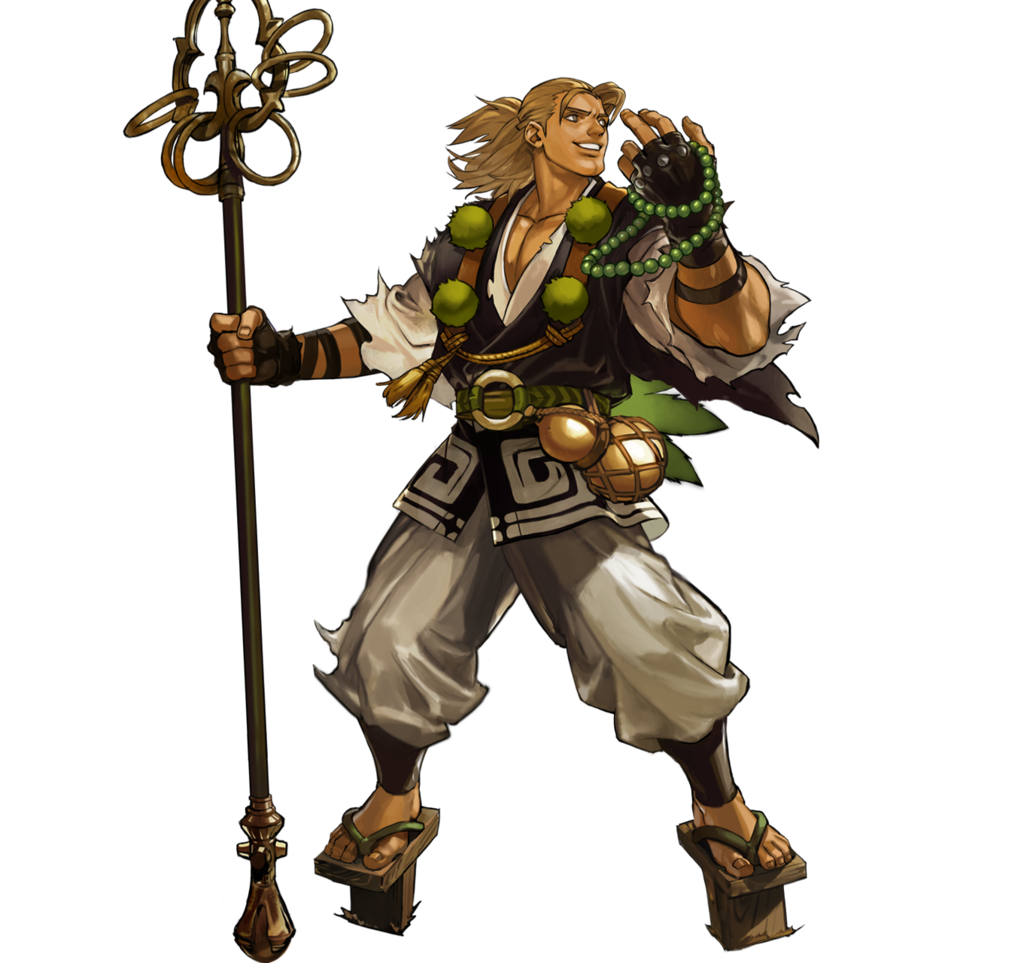 Staff transparent monk. Strike down enemies with