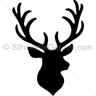 Stag vector animal head. Silhouette clip art download