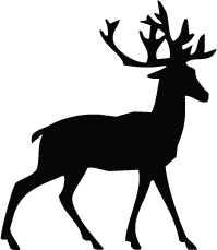Vector santa stag. Free deer silhouette at