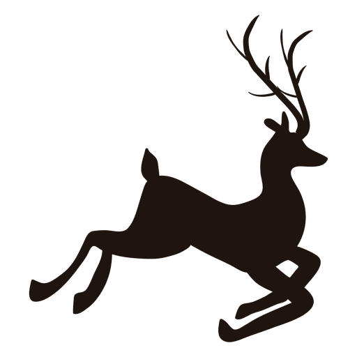 Stag vector kijang. Jumping deer silhouette at