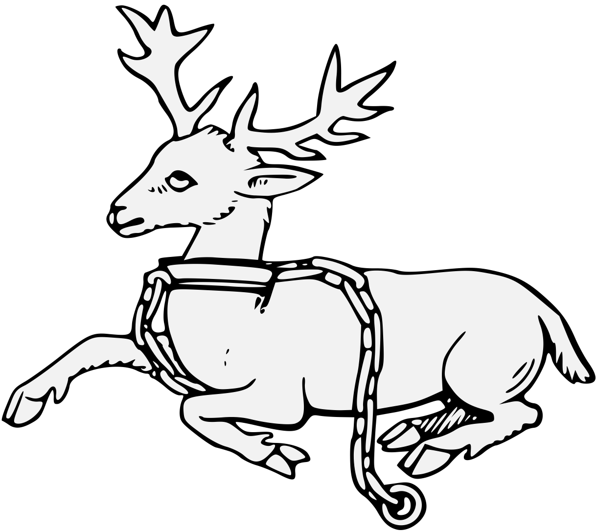 Dear drawing ink. Stag traceable heraldic art