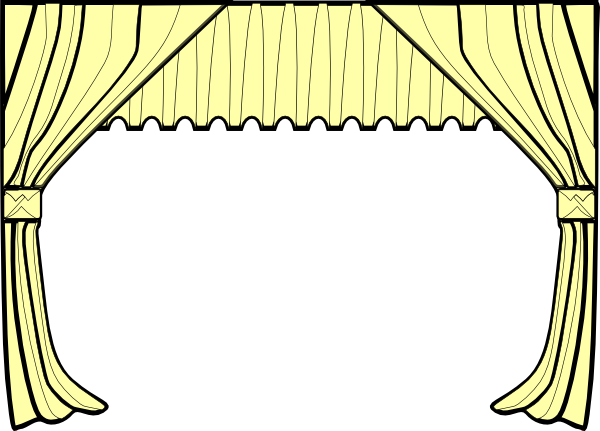 Curtains clipart. Stage black and white
