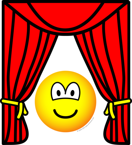 Stage transparent curtain open. Theater emoticon curtains emoticons