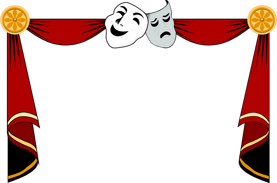 collection of stage. Theatre clipart curtain frame picture black and white stock