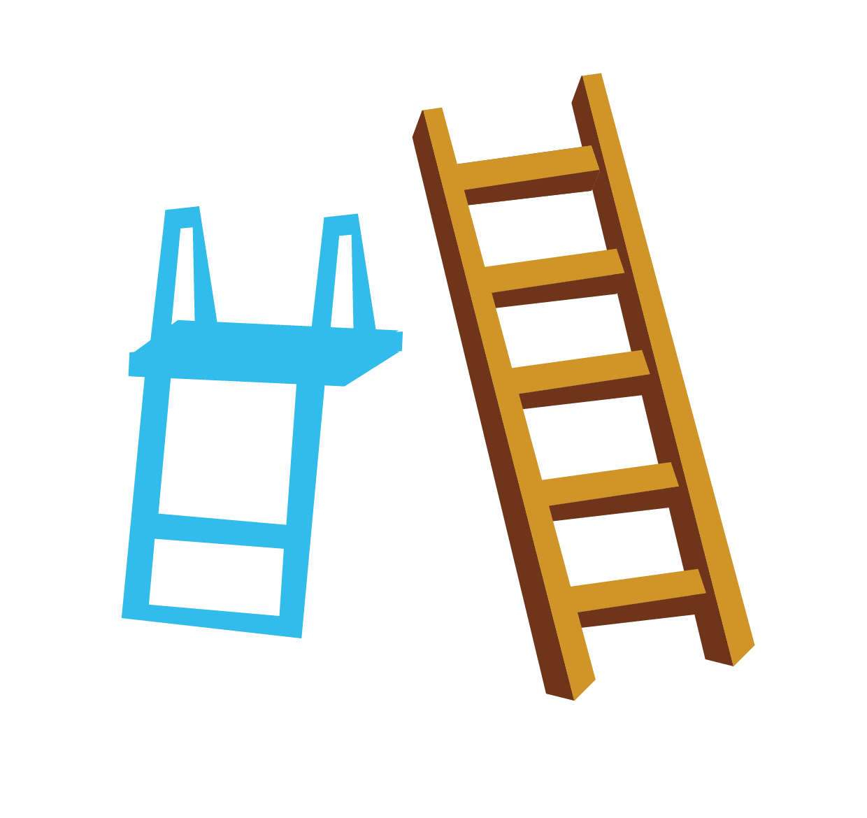 Staircase vector rope ladder. Stairs blue wooden ladders