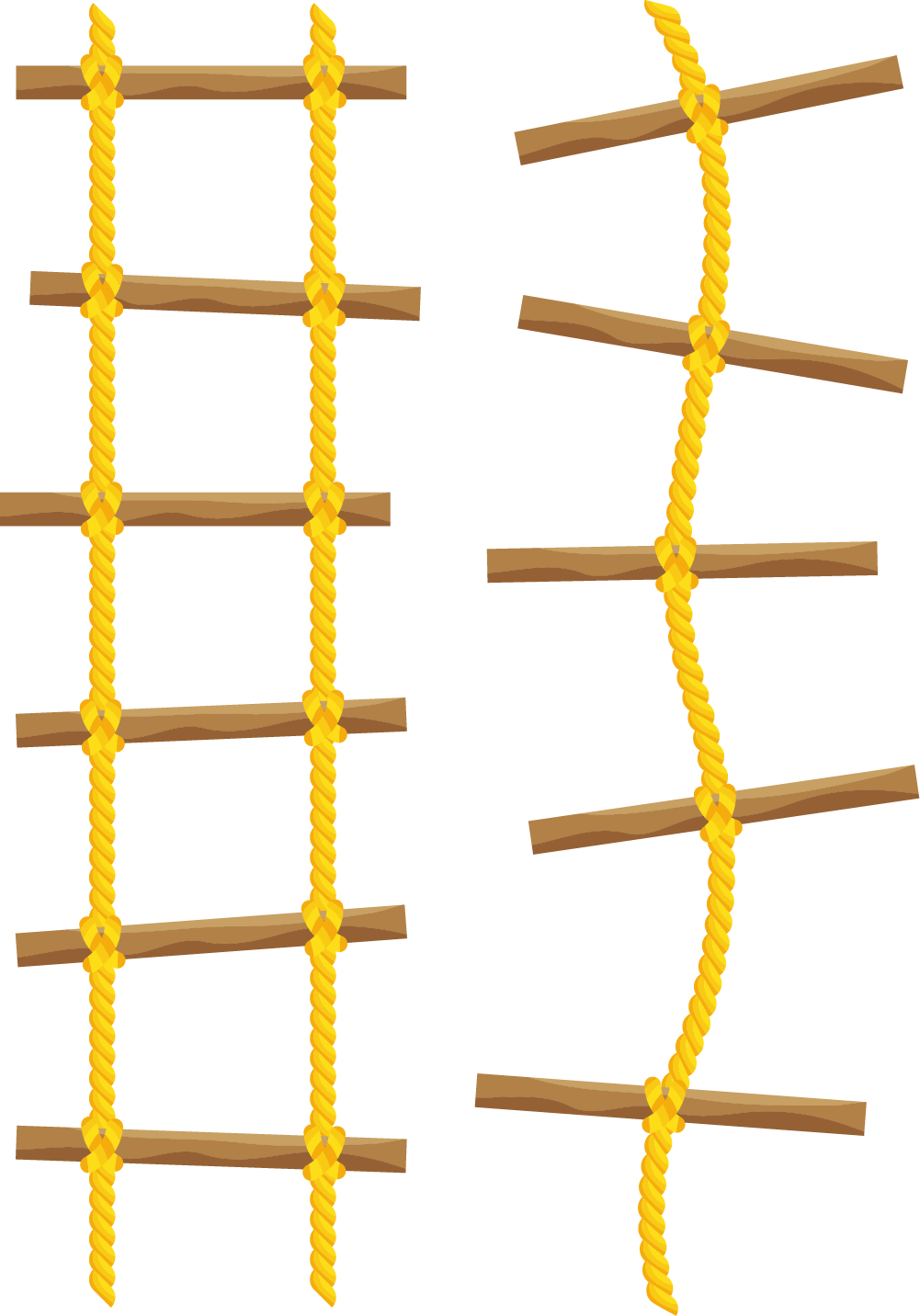 Staircase vector rope ladder. Yellow line light straight