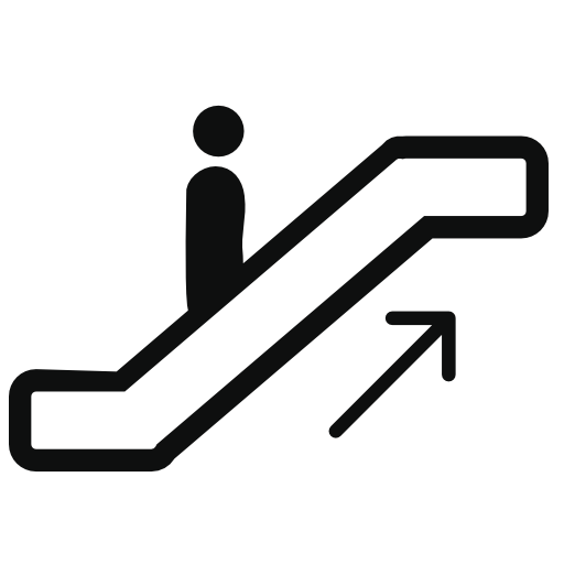 Staircase vector stair symbol. Person ascending by electric