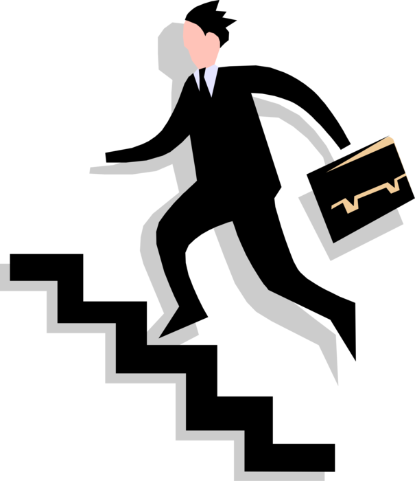 Staircase vector success stair. Entrepreneur hurries up stairs