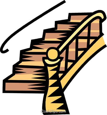 Staircase vector success stair. Clipart group with items