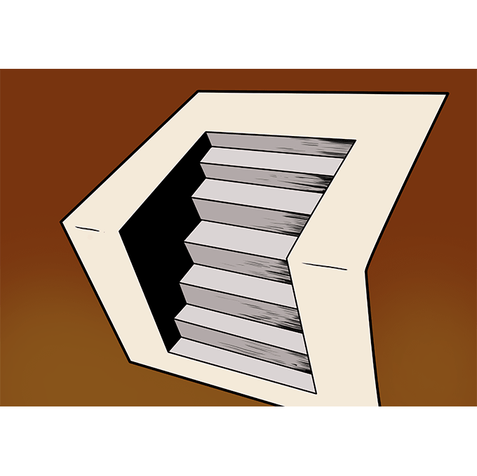 Stairs transparent 3 d. How to draw really