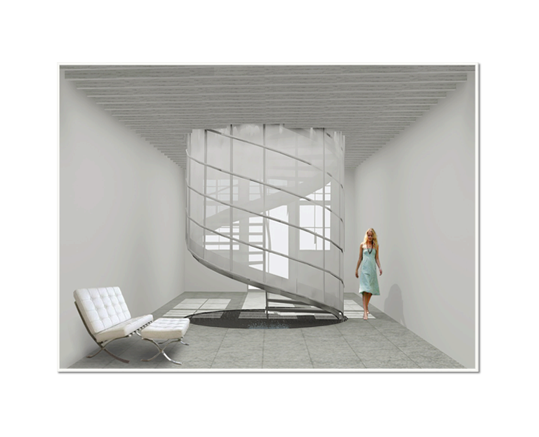 Stairs transparent structural glass. Hyla architects d rendering