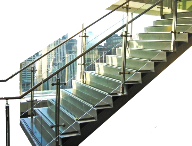 Stairs transparent architectural glass. Balusters for railings item
