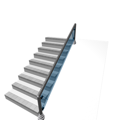 Stairs transparent architectural glass. With rail roblox