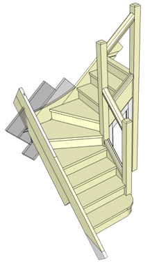 Stairs transparent glass side. Wikipedia example of winder