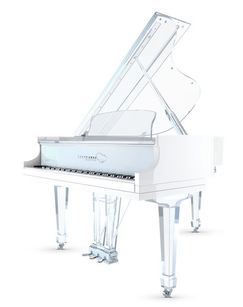 Stairs transparent lucite. Aire baby grand piano