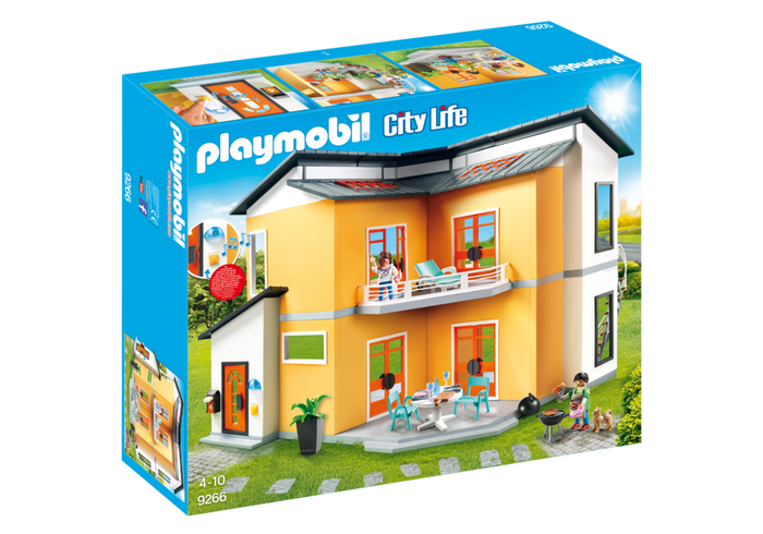 Stairs transparent modern mansion. Playmobil doll house toys