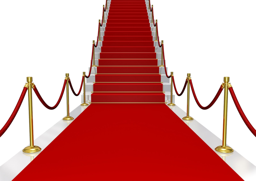 Stairs transparent red. Carpet with psd official