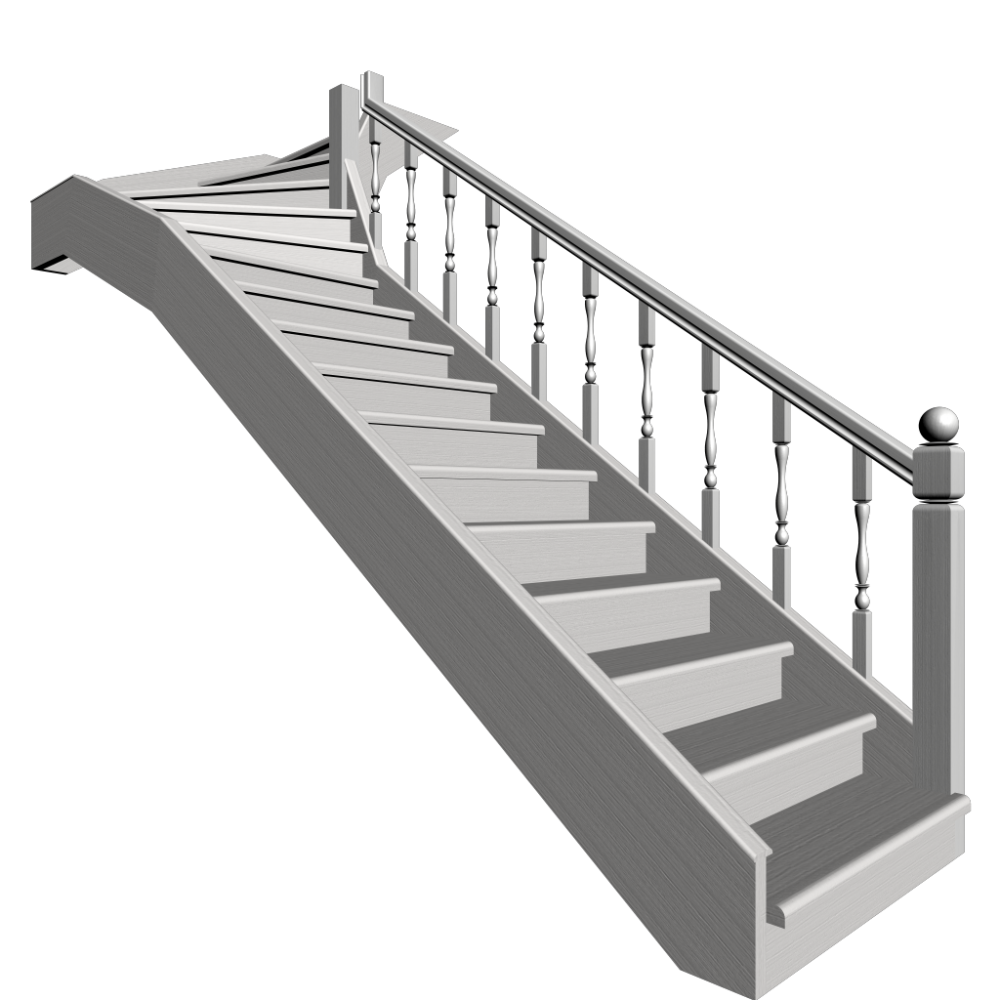 Stairs transparent single. Winder design and decorate