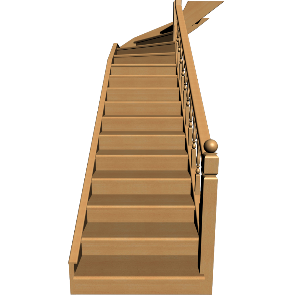 Stairs transparent 3 d. Single winder design and
