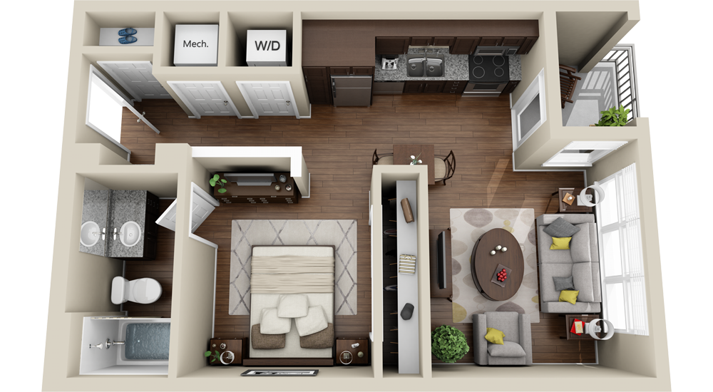 Stairs transparent small apartment. Bedroom floor plans
