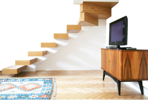 Stairs transparent small apartment. Crystal suites luxury apartments