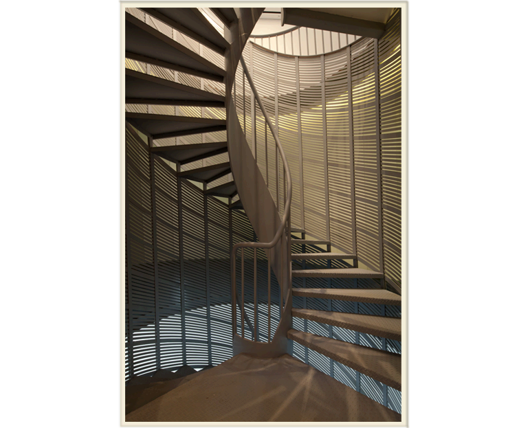 Stairs transparent small apartment. Hyla architects detailed view