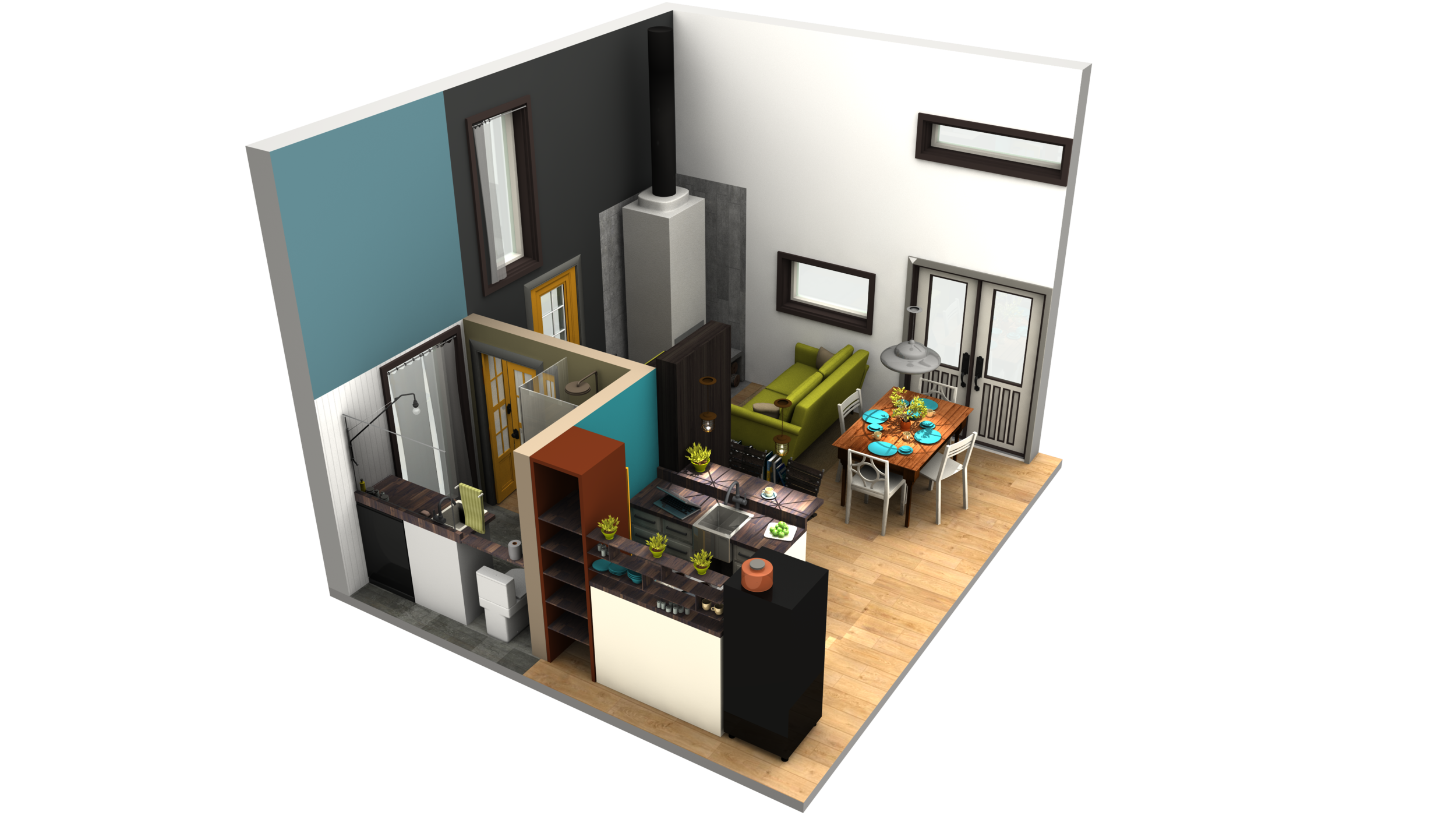 Stairs transparent small apartment. D renders of