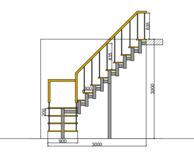 Stairs transparent small place. Formed shaped staircase