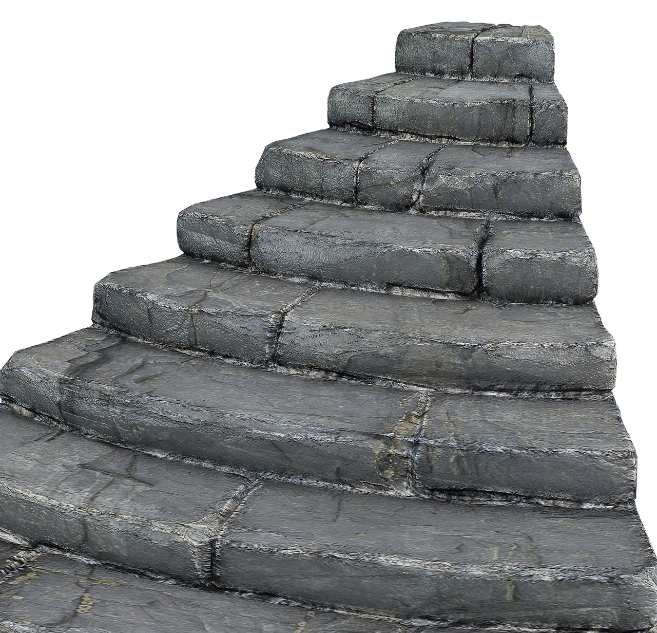 Stairs transparent stone. Gradually rise staircase stairway