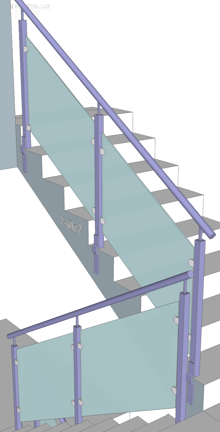 Stairs transparent structural glass. Innox as metal ks