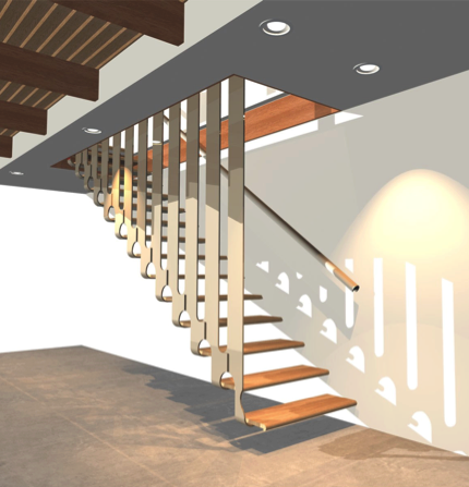 Stairs transparent small apartment. Cool design for hanging