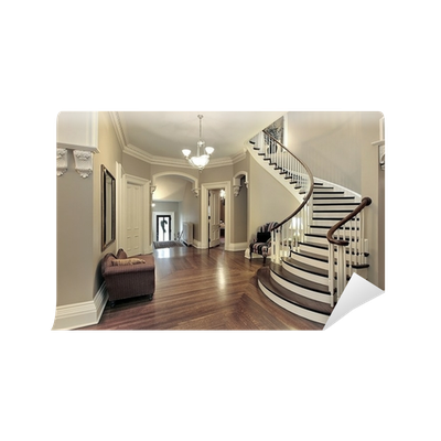 Stairs transparent modern minimalist. Foyer with curved staircase