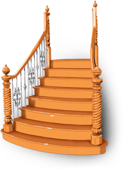 Stairs transparent wooden. Stair railing solution