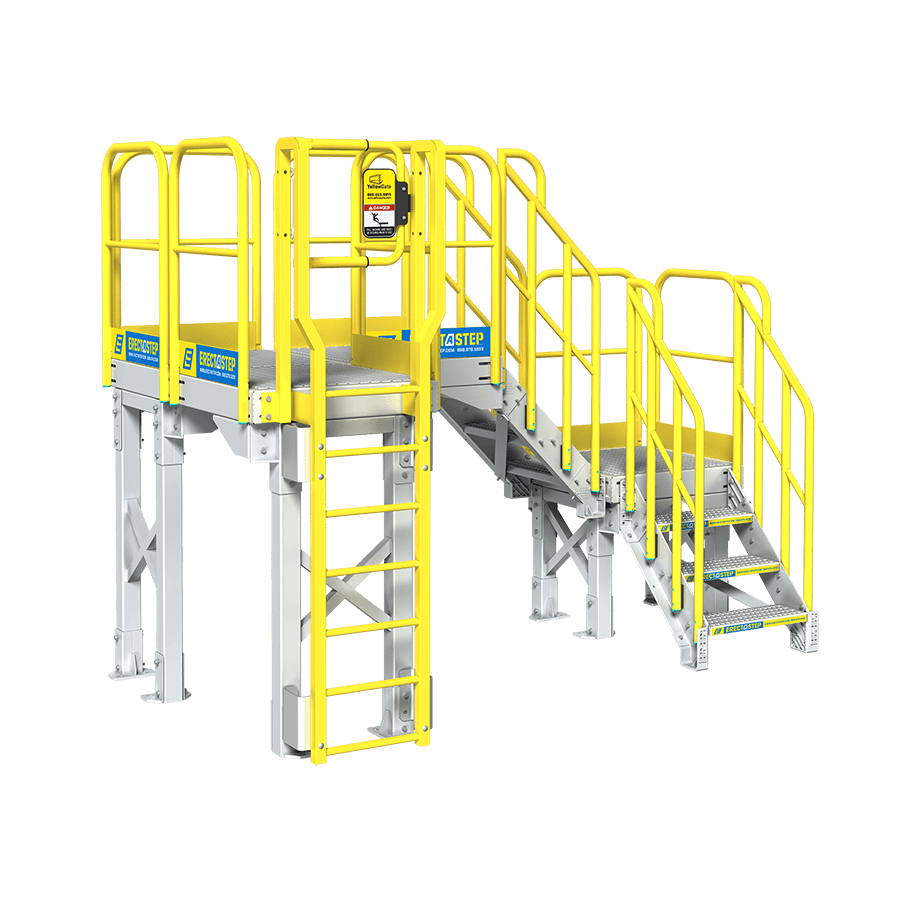 Steps vector stair side. Industrial step up platform