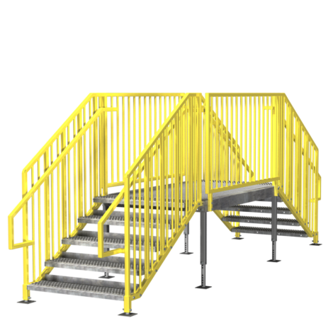 Stairs transparent permanent. Portable prefab ibc osha