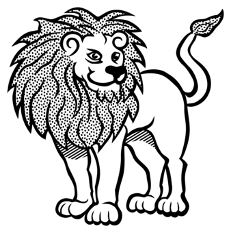 Drawing lions figure. Grandstand line art download